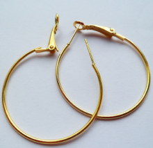 Ear Hoops x 4 (2 pairs). 35mm. Gold Plated
